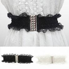 Retro Wide Lace Belt Alloy Buckle Women Decorative Waistband Black White Stretch Dress Waist Belt Si
