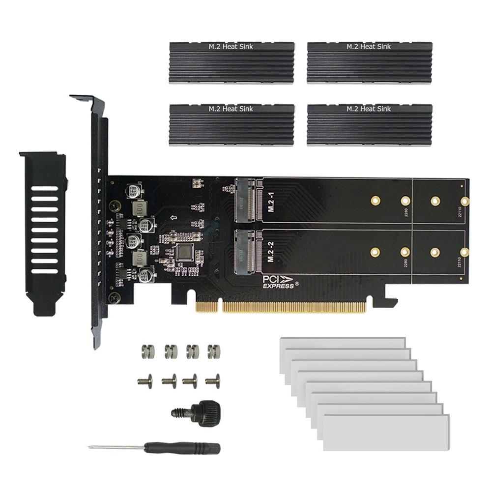 M.2 X16 إلى 4X NVME PCIE3.0 GEN3 X16 إلى 4 * NVME رائد بطاقة PCI-E VROC بطاقة رائد فرط M.2X16 M2X16 4X X4 NVME * 4 رائد