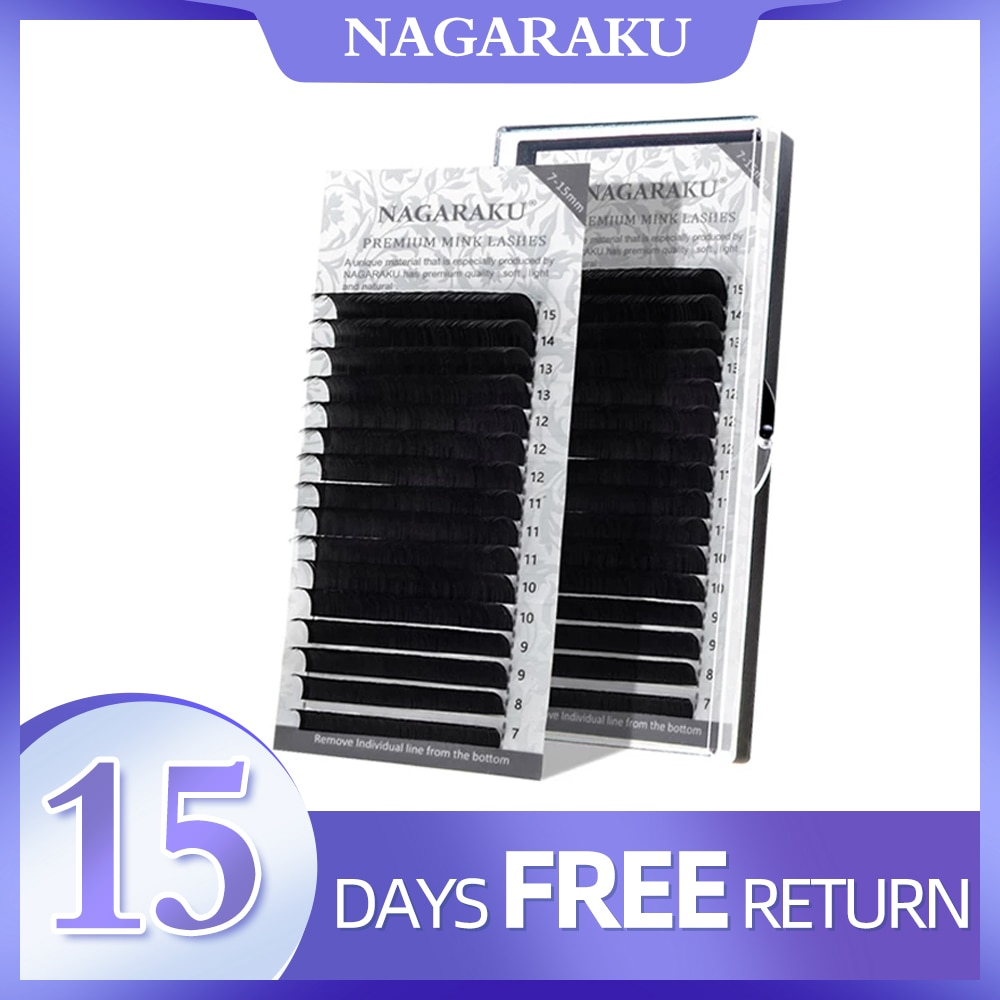 NAGARAKU  eyelash extension synthetic mink 16rows/case 7~15mm D N LC L mix premium natural  individual makeup maquiagem cilios недорого