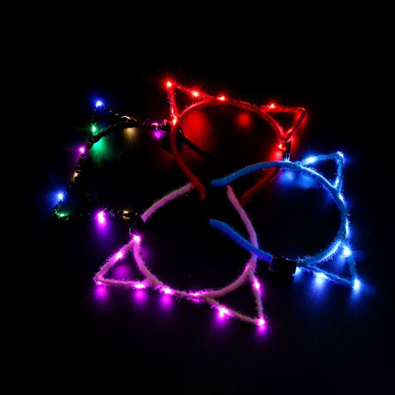 1 diadema LED parpadeante para mujeres y niñas con orejas de gato puntiagudas, guirnalda de luces brillantes, tela de felpa envuelta, suministros para fiesta