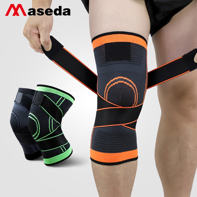 MASEDA A Pair Kneecap Wrap Around the Knee Pads knitted kneepad  Basketball Sports Safety Sportswear Accessories