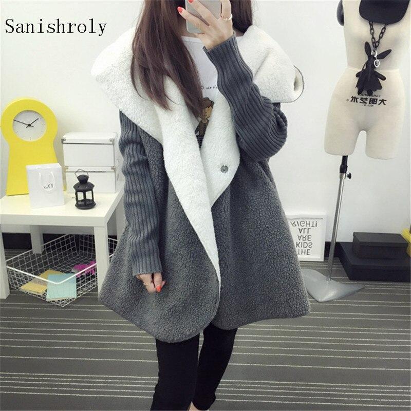 Sanishroly mujeres Abrigo con capucha otoño invierno cálido grueso terciopelo suéter abrigos Outwear mujer manga larga Cordero Cashmer chaqueta S778