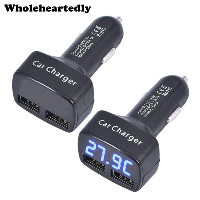 Universal 4 en 1 coche Dual USB cargador DC 5V 3.1A con voltaje/temperatura/medidor de corriente probador adaptador pantalla LED Digital