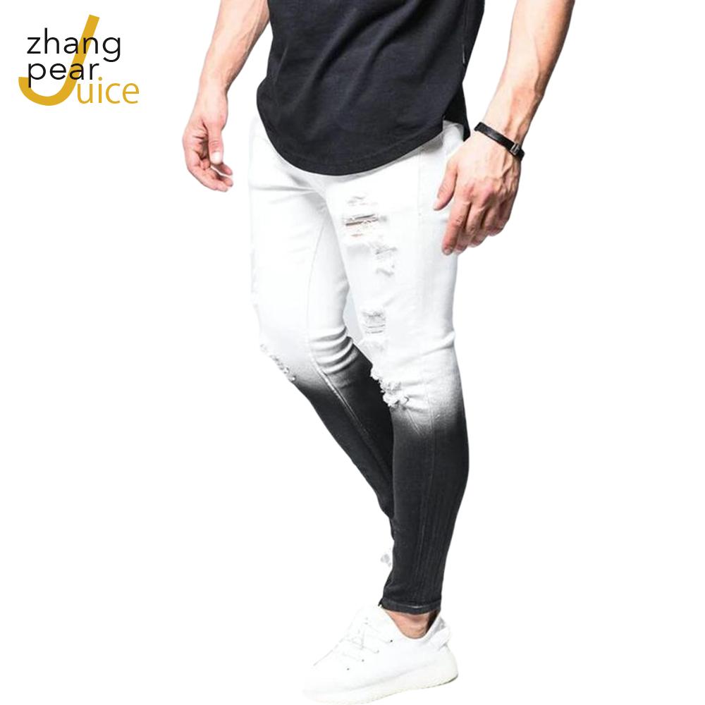 Мужские рваные джинсы с дырками, мужские облегающие эластичные повседневные брюки из денима в уличном стиле, мужские брюки, джинсы