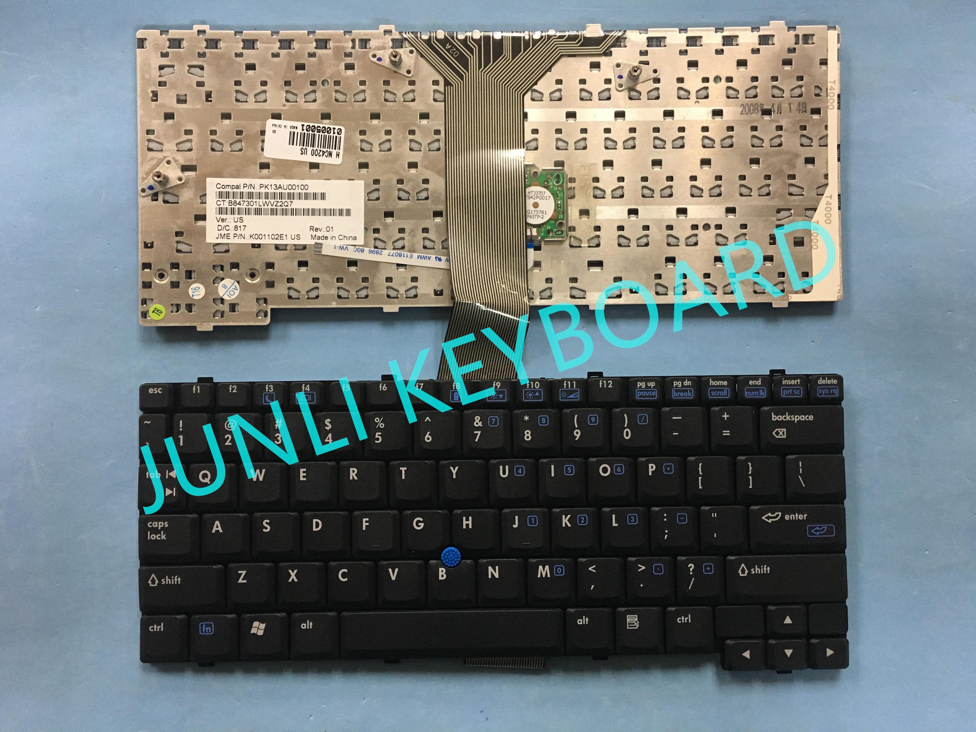 Teclado JUNLI para HP Compaq NC4400 NC4200 PK13AU00100 TC4200 TC4210 TC4400 NC4010 NC4020 NC4000 con teclado negro puntero