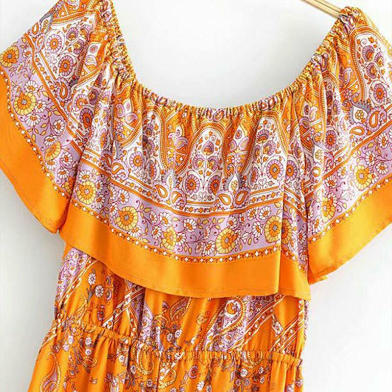 Women Summer Boho Floral Elastic Neck Jumpsuits Rompers Streetwear Playsuit