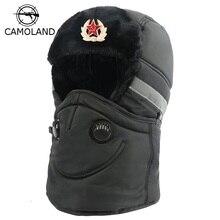 Winter Hat Men Women Bomber Hat with Scarf Anti-haze Russian Ushanka Thermal Trapper Hat Trooper Earflap Snow Ski Balaclava