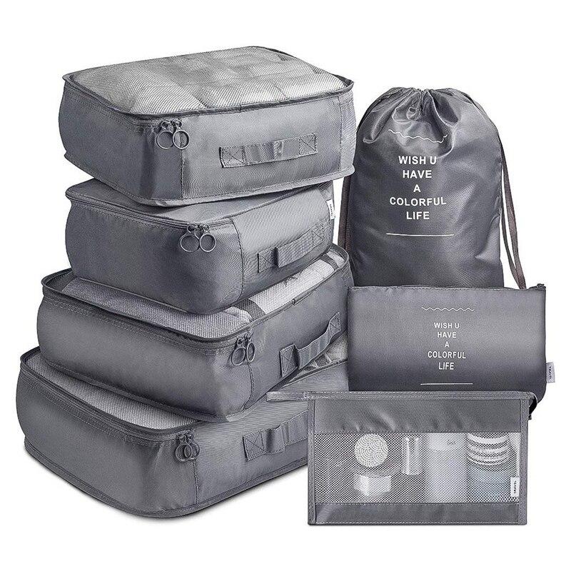 Bolsa de almacenamiento de viaje de 7 piezas, conjunto de bolsas de almacenamiento con bolsa de cosméticos