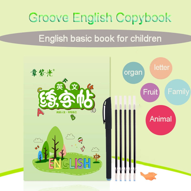 Children 3D Groove Practice Copybook Reusable Handwriting Calligraphy Book for kids Learning English Alphabet Writing Copybook enlarge