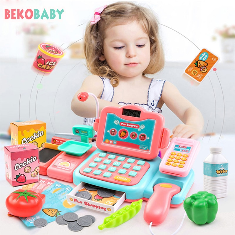 BEKABABY 24Pcs/Set Electronic  Supermarket Cash Register Kits Toys Learning Educational Cashier Multifunctional Parent-child Toy connect the pos machine before the use of cash used in supermarket restaurant cashier ek330
