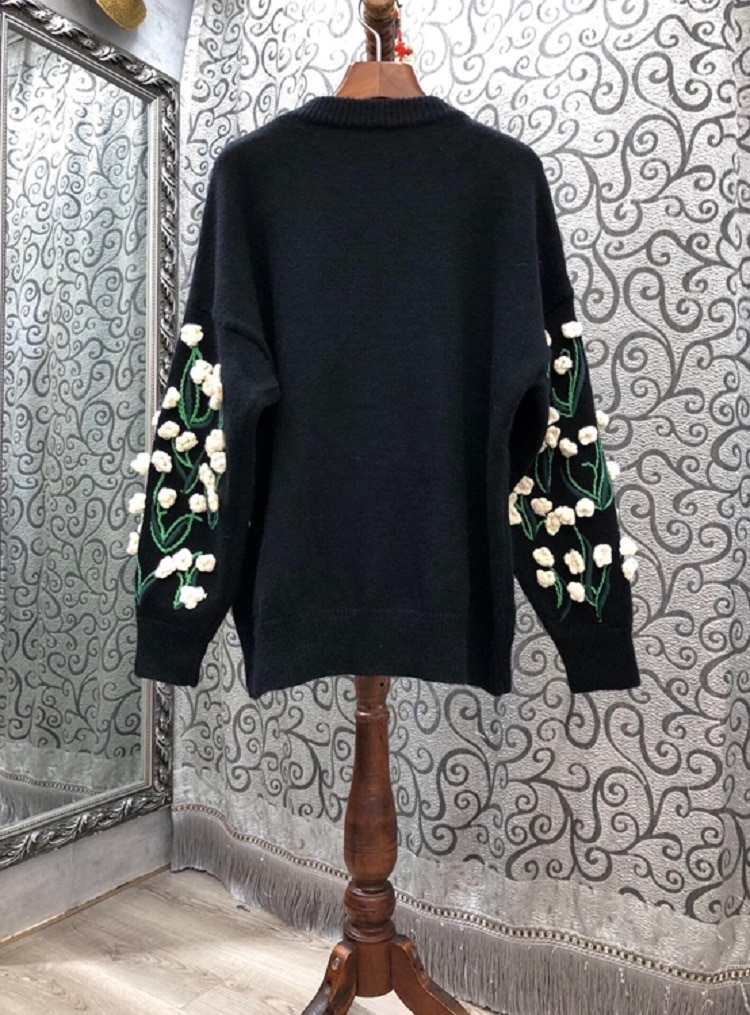 2020 Autumn Winter Pullover Sweaters High Quality Thick Knitting Women Hand Made Flowers Long Sleeve Casual Warm Soft Sweaters enlarge