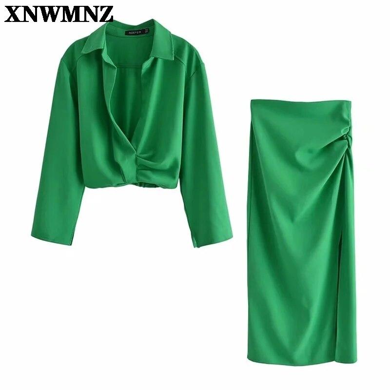 XNWMNZ Za 2021 تنانير طويلة خضراء عالية الخصر تنّورة مجسّمة نسائية ثنيات أنيقة تنورة صيفية ميدي مع فتحة جانبية قميص قصير