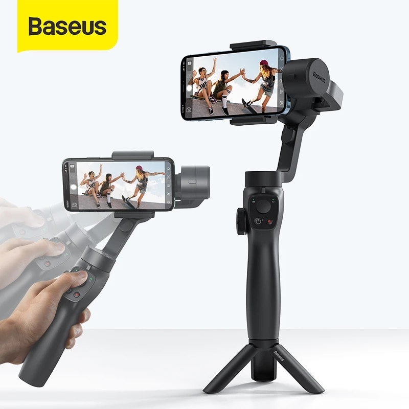 Promo Baseus 3-Axis Handheld Gimbal Wireless Bluetooth Phone Gimbal Stabilizer Selfie Stick Tripod Gimbal Smartphone for iPhone 12 11