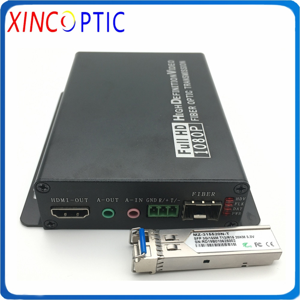 Multiplexer video completo de hd 4 k * 2 k @ 60 hz hdmi com áudio de 3.5mm + rs232 transceptor sx 10 km do lc sfp do extensor da fibra ótica dos dados de rs232