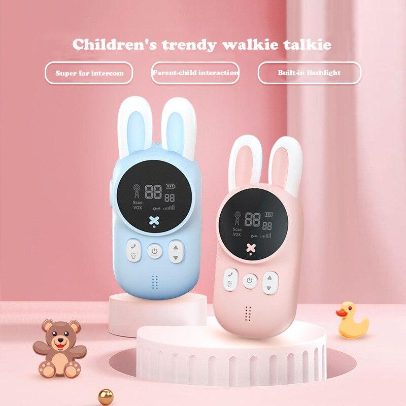 Children's Walkie Talkie Kids Mini Toys Handheld Transceiver 3KM Range UHF Radio Lanyard Interphone For Birthday Gift 2pcs/Set
