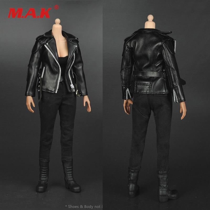 مقياس 1:6 الملابس النسائية النساء سترة جلدية سوداء باردة دعوى لمدة 12 بوصة ألعاب شخصيات الحركة الملحقات