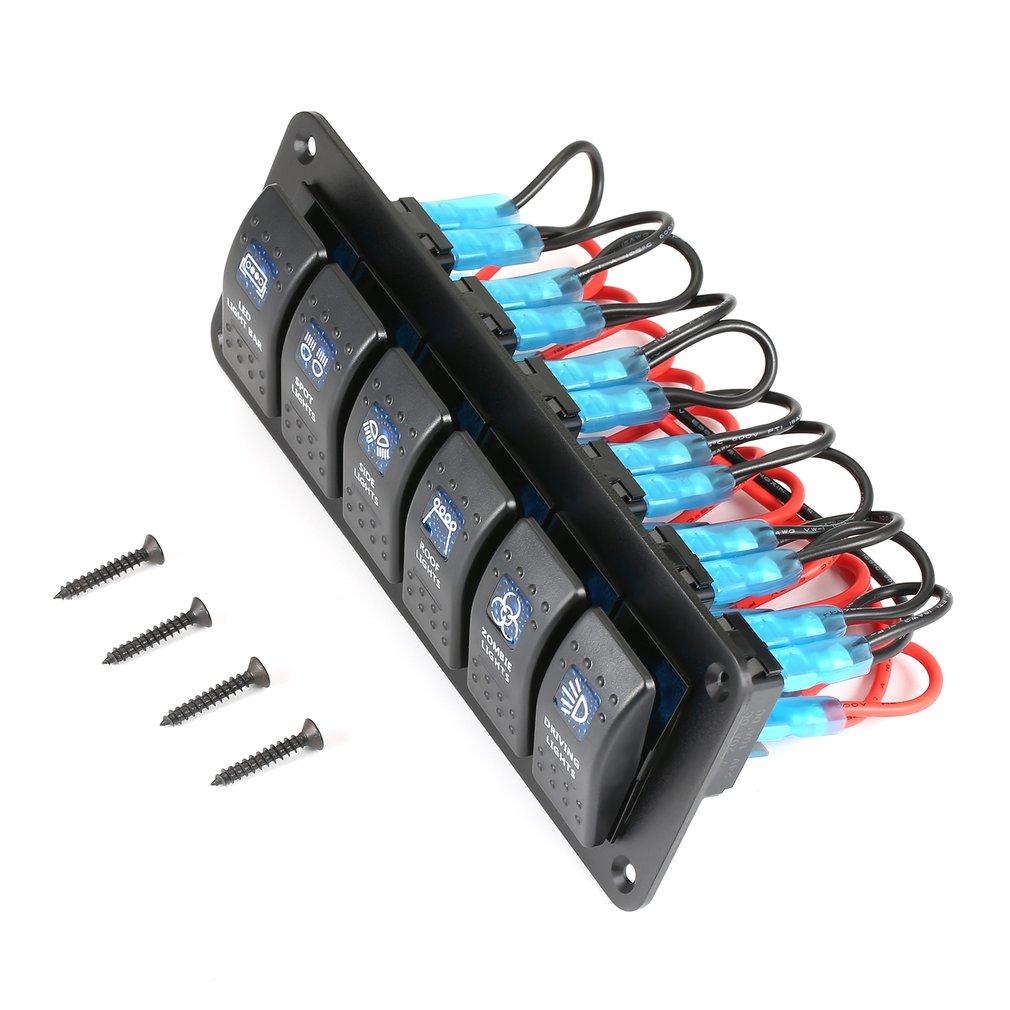 Painel de interruptor de balancim impermeável 12v 6 gang do interruptor do carro da caravana do barco marinho rv proteção contra sobrecarga anti-corrosão