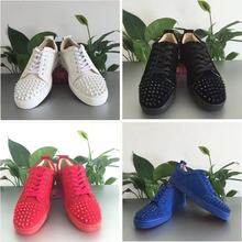 Men's and women's casual shoes rivet rhinestone flat shoes bar fashion red black gray leather sneake