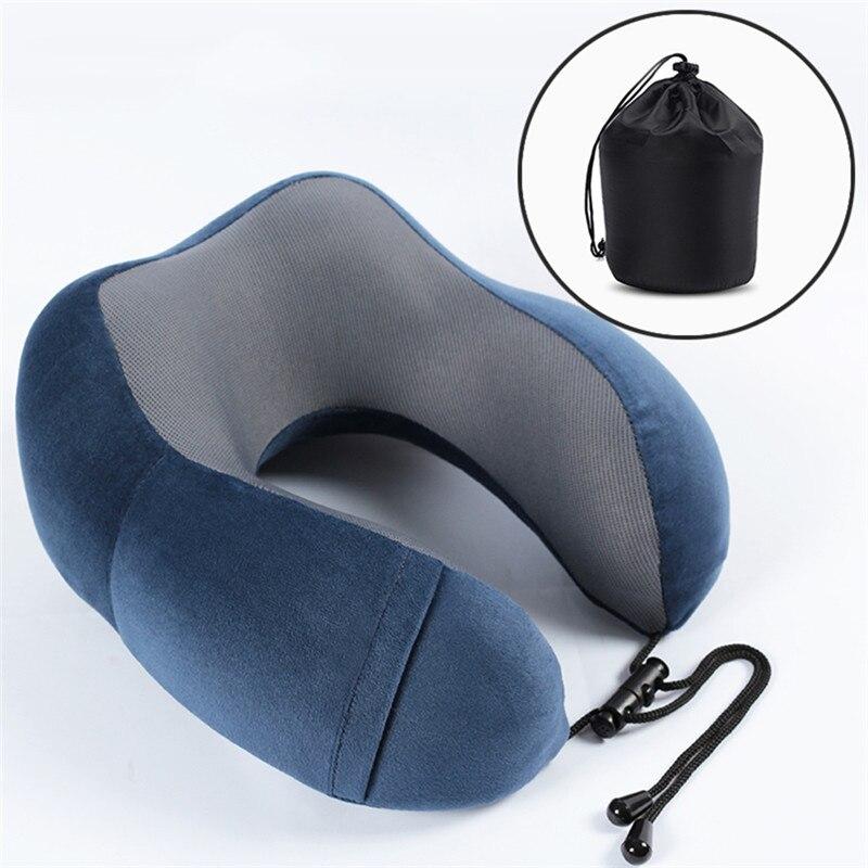 Almohada de viaje de espuma de memoria almohada para el cuello en forma de U suave cabeza de coche de vuelo Oficina de Apoyo almohada de viaje para dormir en avión 3 colores
