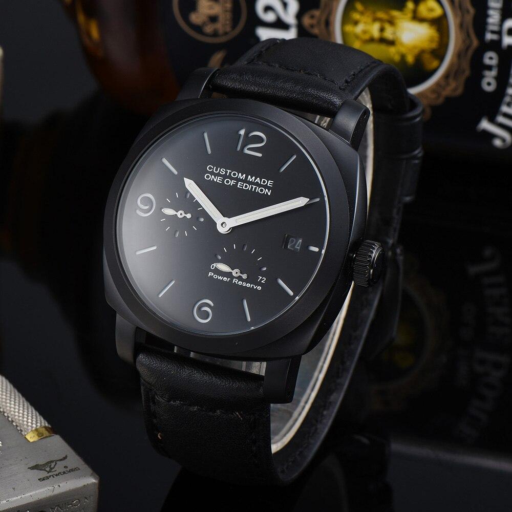 Reloj Automático BOMAX MARINA de 44mm con calendario de reserva de energía y manecillas luminosas, caja de acero inoxidable 316L