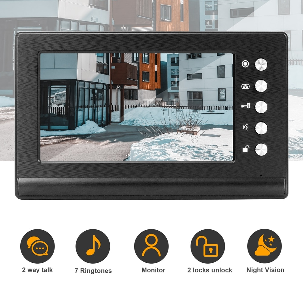7Inch Video Intercom With Lock Video Door Phone System With Exit Unlock Button NC-Electric Strike Door Lock Home Kit enlarge