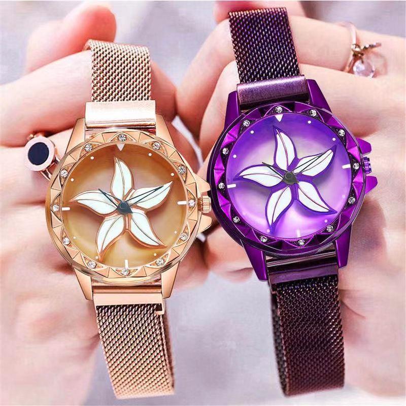New Magnet Starry Sky Women Watch Ladies Flower Pattern Special Design 360 Degrees Rotation Quartz Watch Luxurious Diamond Clock