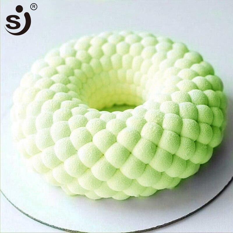 Sj 3d formas de silicone molde do bolo diy malha grade mousse bolo deocrations ferramentas moldes de silicone para bolos de cozimento