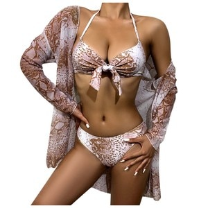 Free Ship Women Sexy Animal Pattern Printed Long-sleeved Sunscreen Strappy Split Swimsuit Bikini de playa sexy traje de baño