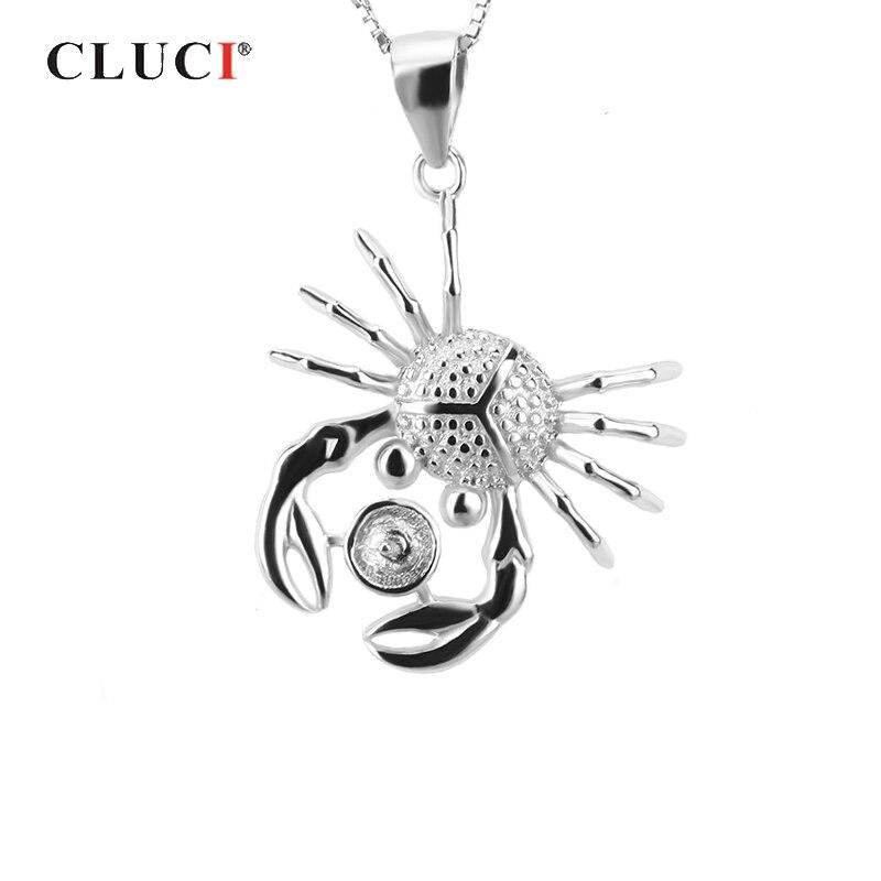 Cluci 925 prata esterlina em forma de caranguejo pingente para mulher colar de jóias de prata 925 pérola pingente de montagem charme pingente sp017sb