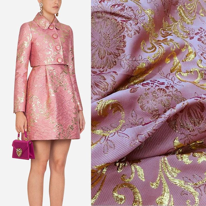 2020 kpop ouro rosa tecido jacquard brocado de seda para calções casaco saia ткань tela telas tissus africano getzner bazin riche tissu