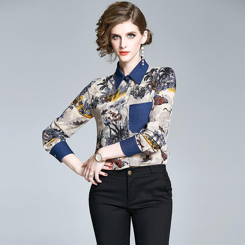 Retro árbol Buterfly Camisa estampada mujeres Tops elegante manga larga Vintage Blusas Mujer Blusas De Moda TA8603