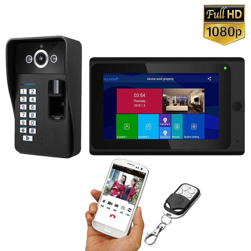 7 Inch 2 Monitors Wifi Wireless Fingerprint RFID Video Door Phone Doorbell Intercom System with Wired HD 1080P Camera