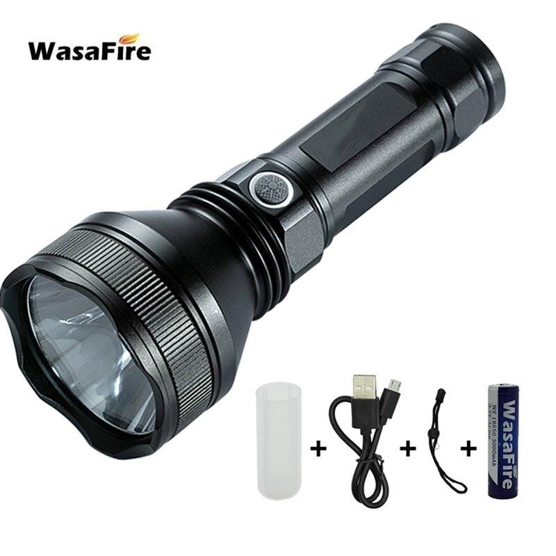 Linterna táctica de autodefensa potente XHP50 LED linterna USB recargable lámpara de patrulla portátil con batería 18650