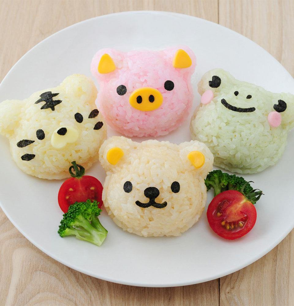 3pcs/set Cartoon Sushi Rice Balls Mold Bears Pig tiger Frog Elephants Sushi Maker Lunch Kitchen Accessories Baking Tools