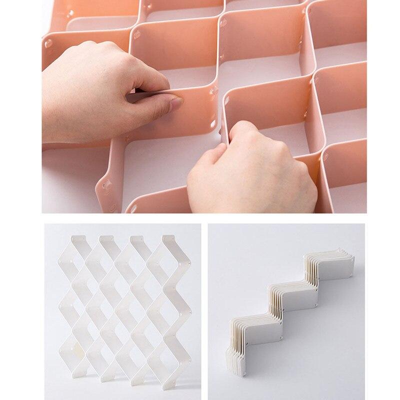 Plastic Grid Drawer Dividers Organizers Space Separation Tool Creative DIY Free Combination Bead Underwear Sock Drawer Organizer