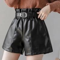ljsxls black khaki pu leather shorts women winter fashion femme high waist wide leg biker shorts sashes ladies shorts 2021 fall
