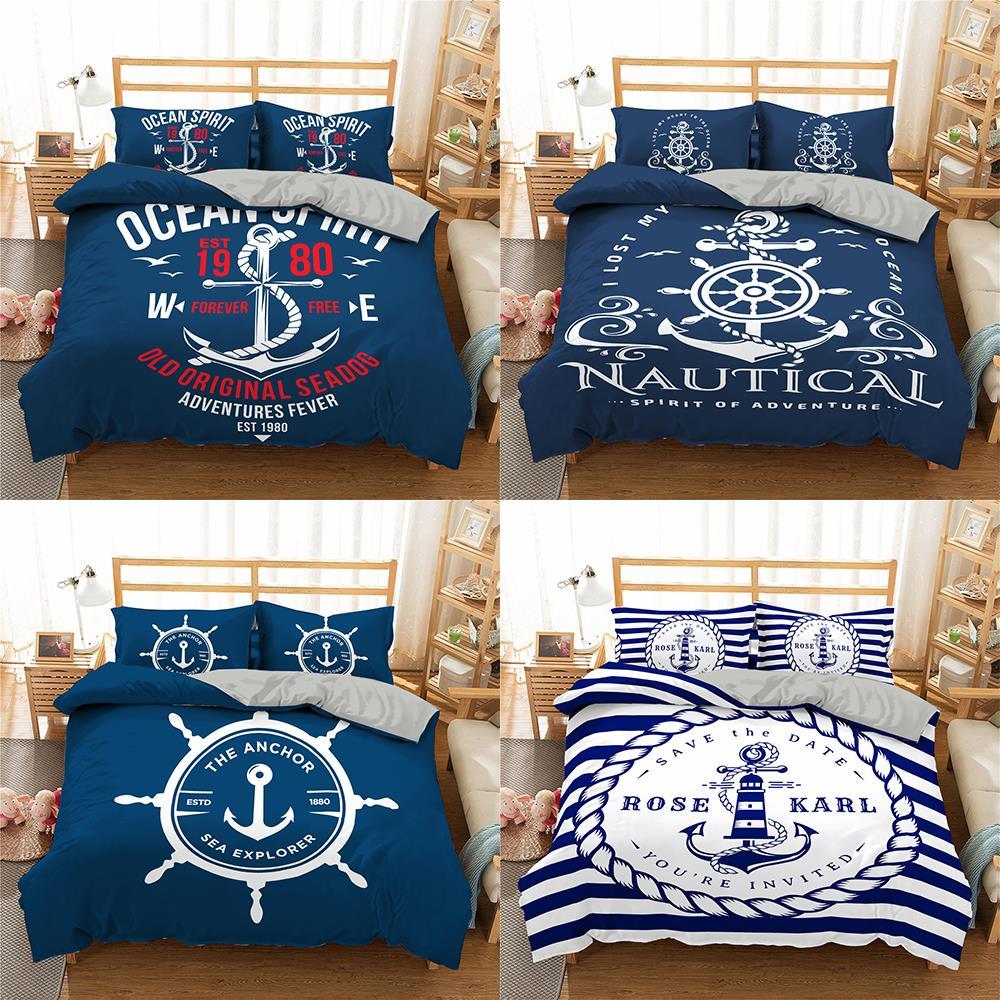 2021 طقم سرير المحيط بحري s روح المحيط القديمة لحاف لتغطية الفراش طقم سرير سرير ملكة الملك الكتان مع المخدة مفارش