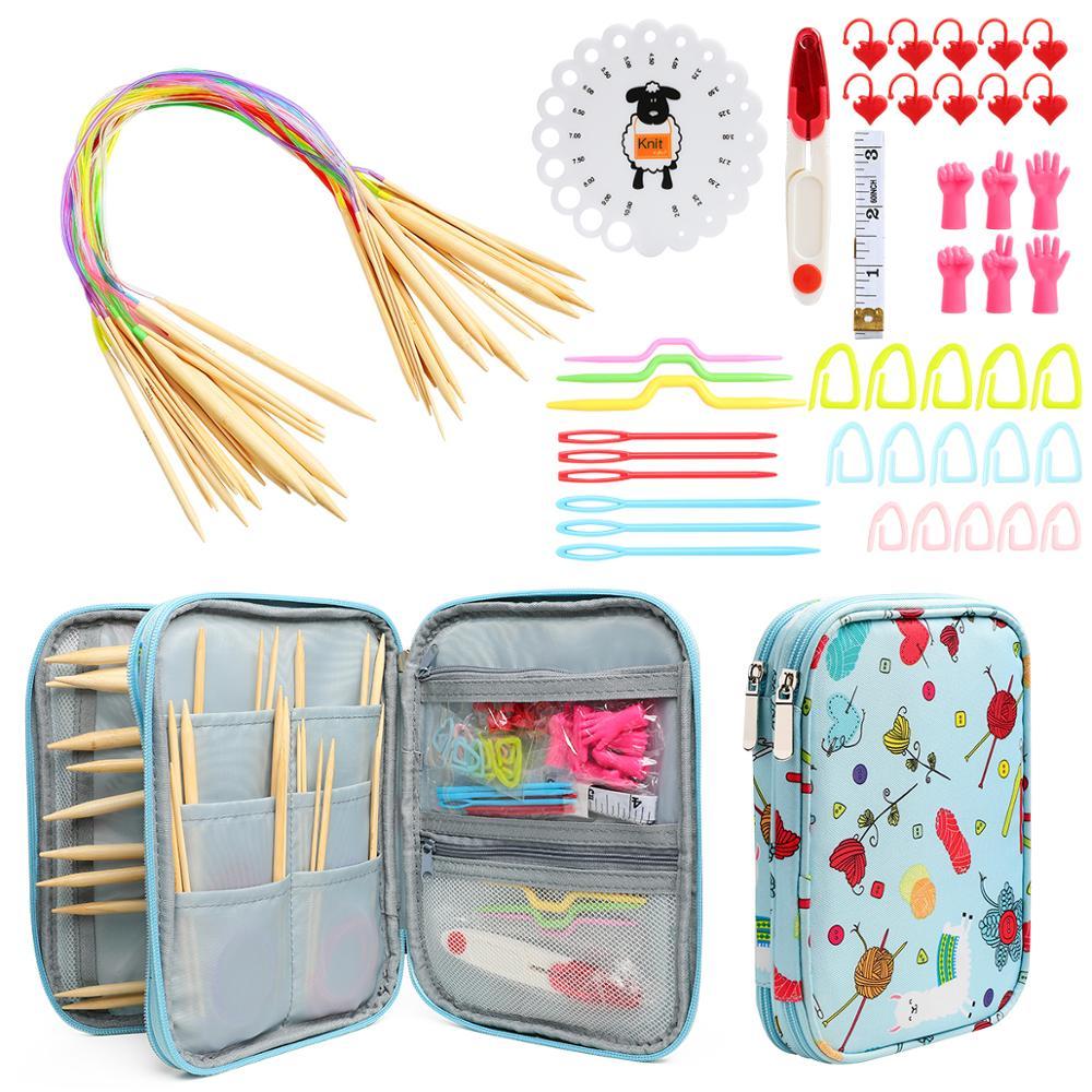 Agujas de bambú de ganchillo Set recién llegado DIY manualidades de tejido de hilo agujas de tejer gancho de agujas juego de accesorios de costura