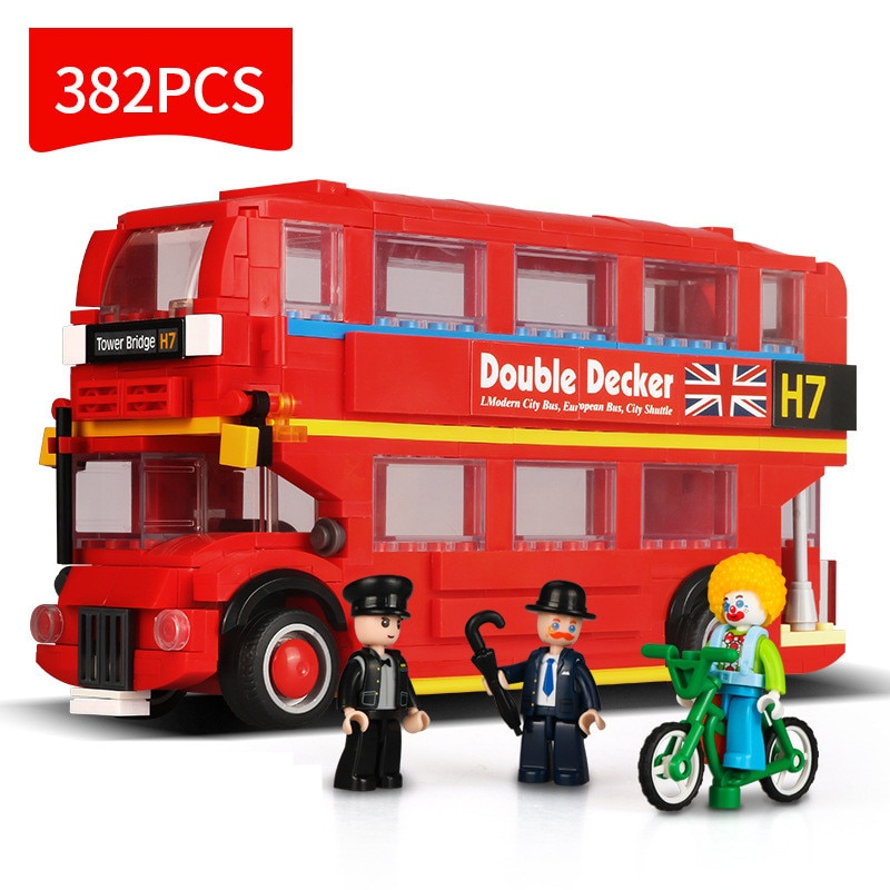 Urban Uk London School Double-decker Bus Tower Bridge Camper Van Car Friends Creation Building Blocks Kids Toys Christmas Gifts