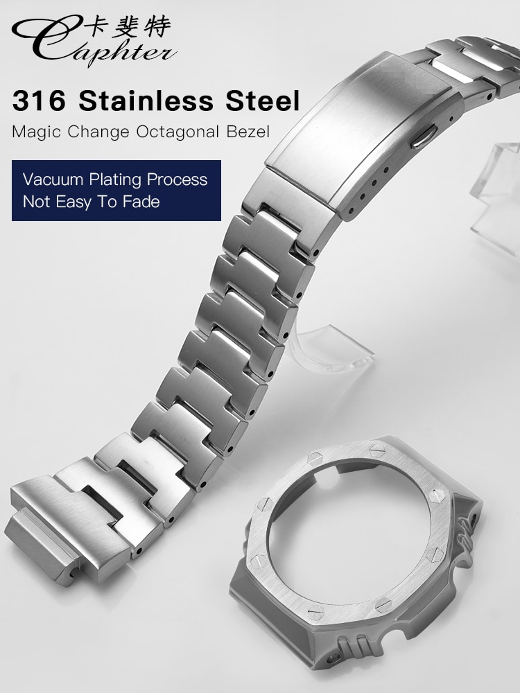 Für Casio GA-2100 Uhr Band und Lünette G-schock Uhr Strap Und Fall 316L Edelstahl Umrüstung Zubehör GA2100 5611