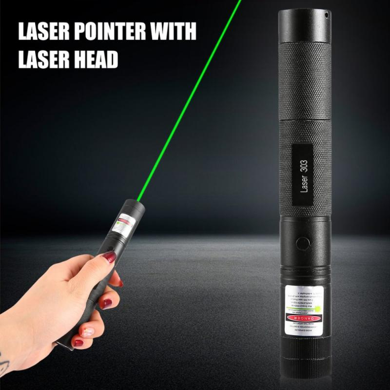 532Nm poderoso láser puntero de 303 Enfoque Ajustable Punto Verde puntero láser linterna de luz láser para la caza de pesca