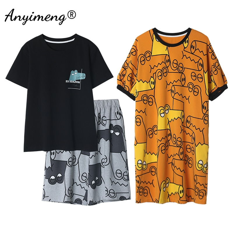 New Couple Matching Pajamas Set Men and Women Sweet Homewear Leisure Cotton Sleepwear Cocodrilo Printing Chic Couple\'s Nightwear