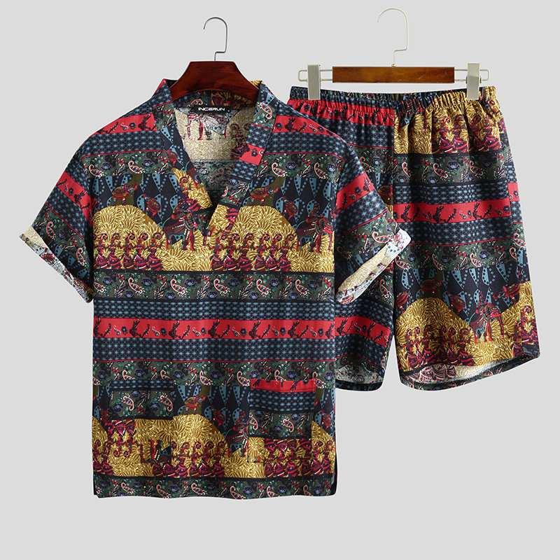 2021 Summer Men Printed Pajamas Sets Loose Short Sleeve V Neck Tops Leisure Shorts Cotton Sleepwear Kimono Unisex Suits