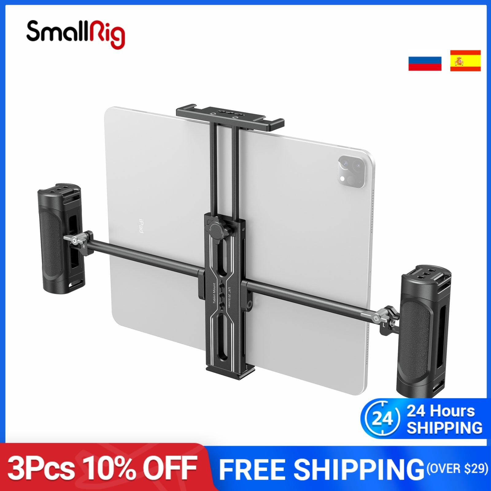 """SmallRig Tablet Metal Holder with Dual Handgrip for iPad Tripod Mount Adapter for iPad Mini Air Pro Surface Pro (7.9"""" to 12.9"""")"""