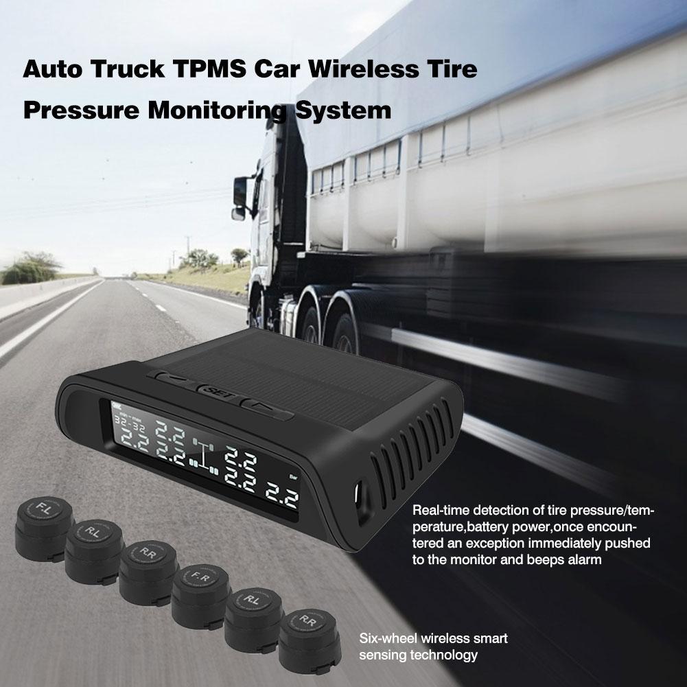 Auto camión TPMS sistema de monitoreo inalámbrico de presión de neumáticos de coche con 6 sensores externos batería reemplazable pantalla LCD para remolque