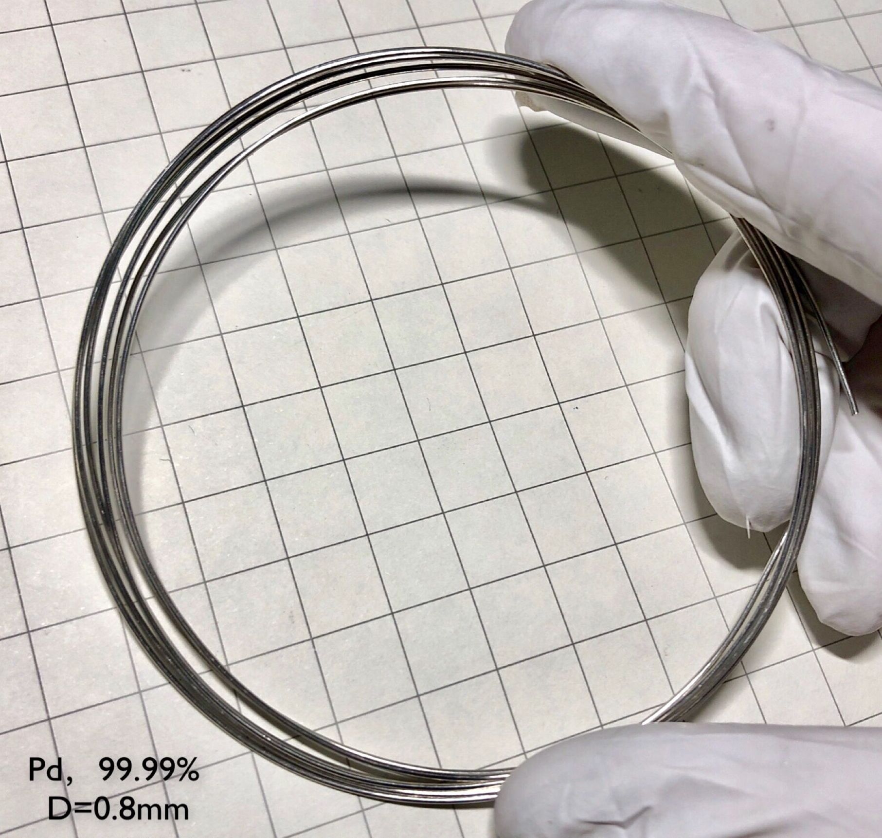 Alambre de metal de paladio 99.99% elemento Pd diámetro puro 0,8mm
