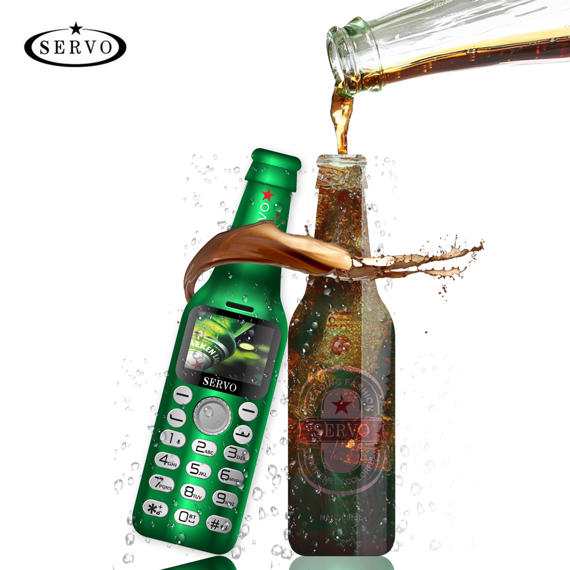 SERVO-هاتف ذكي صغير بمفتاح واحد ، هاتف ذكي صغير V8 ، مع زجاجة نبيذ ، اتصال bluetooth ، HD ، صوت سحري ، مسجل بمفتاح واحد ، لغة روسية