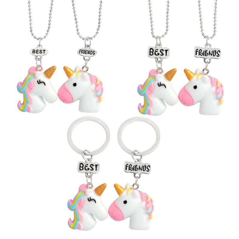 Collar de animales de resina de colores de buen amigo para niños, bonito juego de unicornios, collar de joyería, regalo para mujeres, Juego de 2 piezas
