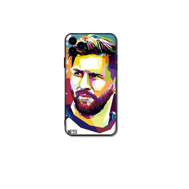 Estrela de futebol caso macio para iphone 12 mini 11 pro x xs max xr 8 7 6s mais se 2 matte silicone telefone messi moda coque fundas