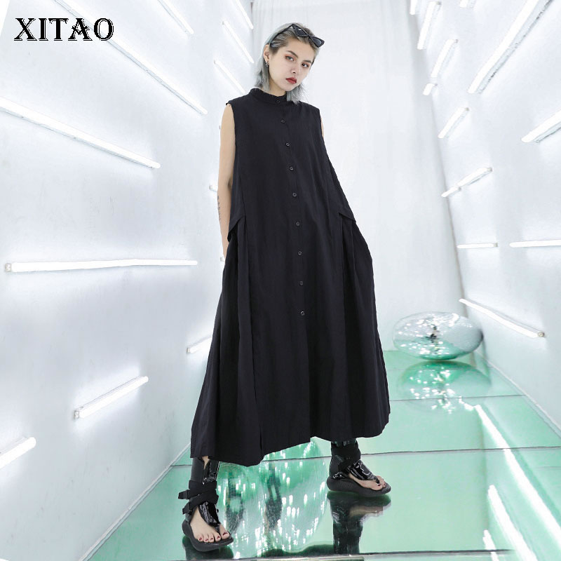 [XITAO] Korea Fashion Women 2019 Summer O-neck Sleeveless Loose Solid Color Button Pleated Casual Mid-calf Dress  ZLL3750